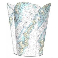 Fishers Island Nautical Chart Wastepaper Basket