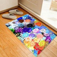 #AdoreWe #Gamiss Gamiss Floral Painting Pattern Anti skid Water Absorption Indoor Outdoor Area Rug - AdoreWe.com