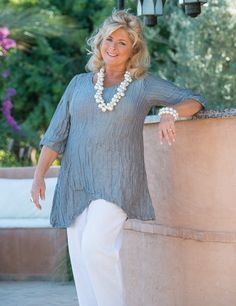 Grizas+silver+silk/linen+seam+top  Explore our amazing collection of plus size fashion styles and clothing. http://wholesaleplussize.clothing/