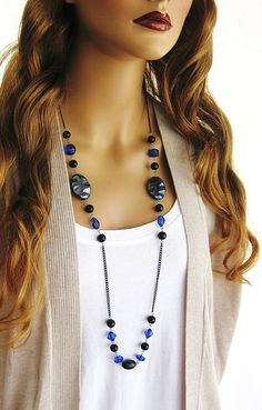 Long Black and Blue Beaded Necklace Black by RalstonOriginals