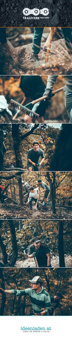 Fotografie am Community Bautag für Trailwerk Wachau. Zeitgemäße Mountainbike-Singletrails am Göttweiger Berg. Berg, City Photo, Branding, Studio, Movie Posters, Movies, Film Poster, Films, Studios