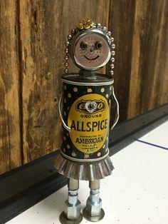 robot sculpture, robot girl, found object robot, robots, bots, robot, robot art, robot assemblage, found objects, junk robots - Small Spice