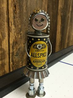 robot sculpture, robot girl, found object robot, robots, bots, robot, robot art, robot assemblage, found objects, junk robots - Small Spice