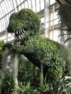 T-rex topiary at the Buffalo and Erie County Botanical Gardens.