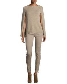 Knit Cashmere Cape-Sleeve Sweater, Oatmeal