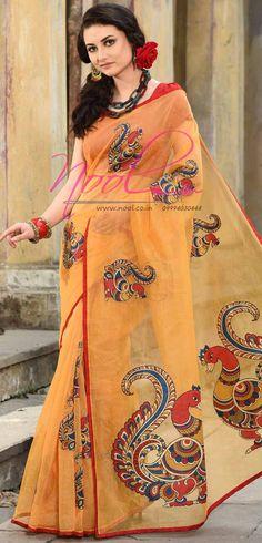 http://www.nool.co.in/product/sarees/kalamkari-applique-work-manipuri-cotton-saree-yellow-peacock-rdb108