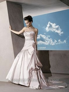 Princess Strapless Satin Sweep Train Pink Ruffles Wedding Dresses