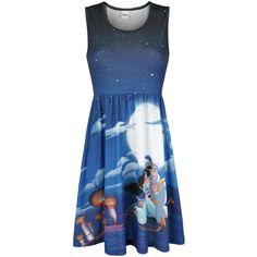 """Walt Disney - Aladdin & Jasmin  - sublimatieprint - korte jurk - met getailleerde pasvorm - all-over print - Walt Disney  Ben jij een liefhebber van de Disney-klassieker Aladdin? Kijk dan eens naar de blauwe jurk """"Aladdin & Jasmin"""" van Walt Disney! Op de voorkant van de jurk staat een romantische print van Aladdin & Jasmin op het vliegende tapijt. Het getailleerde kledingstuk heet een ronde hals."""
