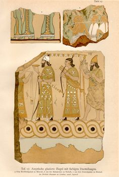 1915 archaeological plate of Assyrian Glazed Tiles