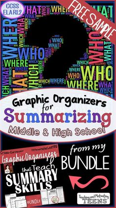 Here's a free sample of my bundle:Graphic Organizers that Teach Summary Skills. Two formats: Graphic organizer and guided note-taking. Enjoy!