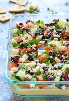 Skinny Greek Layer Dip made with hummus. Absolutely delicious!_