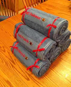 Senior football gifts.  Embroidered bath towels.  Cost under $10.