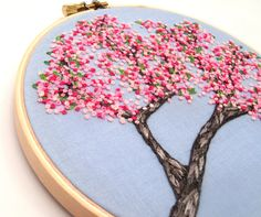 Items similar to Cherry Blossoms Hand Embroidery Tutorial, Pattern PDF Digital, Pink Spring Flowers on Etsy Silk Ribbon Embroidery, Embroidery Hoop Art, Cross Stitch Embroidery, Embroidery Patterns, Hand Embroidery Tutorial, French Knots, Needlework, Cherry Blossoms, Needlepoint