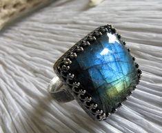 Labradorite square gemstone ring.  Rustic by PoseidonsBooty