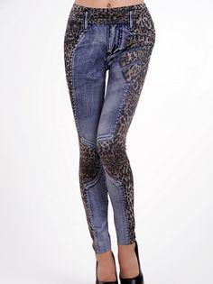 Wild Patchwork Faux Denim Skinny Leopard Printed Hip Package Capris Lady's Leggings on fashionsure.com