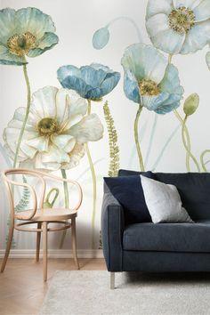 Explore romantic, gorgeous wallpaper motifs by the Canadian artist Lisa Audit. #wallpaper #floral #watercolour #homedecor #wallart #home #style