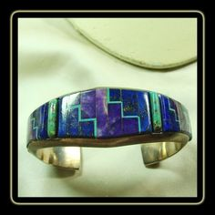 Alvin Yellow Horse Sterling Cuff Bracelet with Inlay in Shades of Blue, Lavender and Green