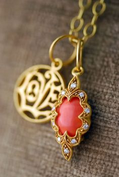 """Cathy Waterman fossilized coral heart charm w/diamond flower overlay on 30"""" 22k tiny lacy chain // 22k and diamond coral scallop charm and 22k Love charm"""