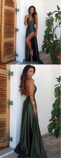Sexy Backless V Neck Prom Dress Green Evening Dress Slit Party Gowns Cheap Prom Dresses#promdress#dress#dresses#eveningdress#promgowns