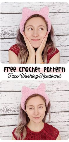 free crochet pattern: face washing headband! #crochet #crochetpattern #kawaii