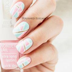 Pastel Pink and Tiffany Blue Mosaic Nails!