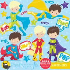 Superhero boys clipart - cute clipart for invitations, crafts and scrapbooking.