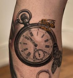 Relistic pocket watch and bee - 100 Awesome Watch Tattoo Designs  <3 <3