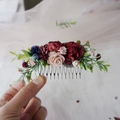Excited to share the latest addition to my shop: burgundy and navy blue wedding hair piece deep red flower hair clip burgundy hair accessories floral hair vine bridal headpiece winter Flower Hair Clips, Flowers In Hair, Red Flowers, Faux Flowers, Winter Wedding Flowers, Wedding Colors, Wedding Flower Hair, Wedding Ideas, Red Wedding Hair