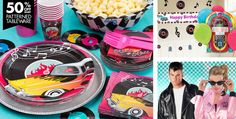 All Party Supplies - Theme Parties - Top Theme Parties with Rock And Roll Party Decorations Grease Themed Parties, 50s Theme Parties, 50th Party, Birthday Party Themes, 60 Birthday, Roller Skating Party, Movie Party, Car Party, Party Rock