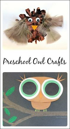 2 owl crafts to make after reading a book about nocturnal animals. One're more process-based, while the other is more focused on learning shapes and colors. Owl Preschool, Kindergarten Art, Forest Animal Crafts, Forest Animals, Woodland Animals, Toddler Crafts, Crafts For Kids, Birds Of Prey, Fall Preschool Activities