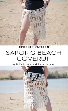 Crochet Sarong Beach Cover Up -Crochet Pattern | This easy and pretty crochet sarong beach cover up is a quick evening project! Make it for your next beach day to wear in between sunning and swimming. Add fringe for the perfect finishing touch! #crochetpattern #summercrochet #crochetbeach #crochetsarong Modern Crochet Patterns, Crochet Designs, Crochet Tutorials, Crochet Basics, Knitting Designs, Crochet Crafts, Crochet Ideas, Crochet Projects, Crochet Lace