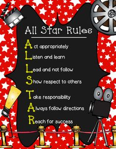 Great for those with a Hollywood/Movie theme. This can be used for rules for the classroom. You can take your mini poster to a retail store to get it enlarged. You can also send the classroom rules home with students showing parents your classroom expectations.
