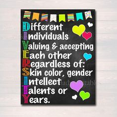 Diversity Poster, Printable Beautiful Printables for Home School Work by TidyLadyPrintables School Counselor Office, School Social Work, School Counseling, School Office, Psychologist Office, Nurse Office, Counseling Posters, Elementary Counseling, Counseling Activities