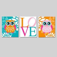 Owl Love Floral Baby Girl Nursery Art Trio Set of Three Owl Nursery, Floral Nursery, Nursery Prints, Nursery Decor, Room Decor, Project Nursery, Nursery Ideas, Wall Decor, Owl Bedrooms