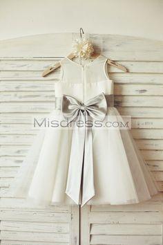 bfdf5ed98bcf Sheer Ivory Chiffon Tulle Flower Girl Dress (silver sash bow). Vestiti Per  ...