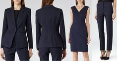 Reiss four-pice navy suit - blazer, dress, trousers, skirt (not pictured) Simple Outfits, Pretty Outfits, Pretty Clothes, Work Fashion, Fashion Details, Suits For Women, Navy Women, Interview Suits, Plus Size Suits