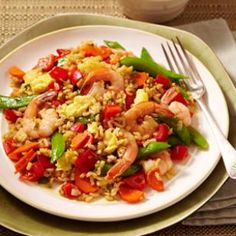 A healthy Shrimp Fried Rice Recipe packed with vegetables.
