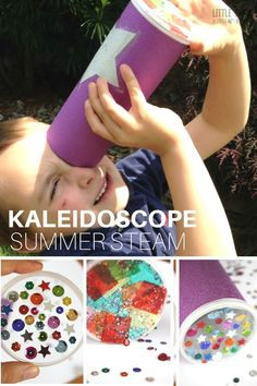 Find out how to make a kaleidoscope for a simple STEAM activity this summer. Explore light and color while crafting DIY kaleidoscope to enjoy outdoors. Arts And Crafts For Teens, Summer Crafts For Kids, Summer Activities For Kids, Crafts For Kids To Make, Summer Kids, Diy Crafts To Sell, Projects For Kids, Kids Crafts, Diy Projects