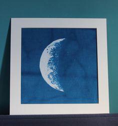 """Crescent"". 2015. Cyanotype fabric print."