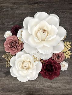 SVG Style 1 Rose Bundle Templates (upload to cutting machine) Rolled Paper Flowers, Paper Flowers Diy, Paper Roses, Handmade Flowers, Sunflowers And Roses, Flowers In Jars, Giant Flowers, Paper Flower Wall, Flower Wall Decor