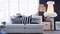 """IKEA Österreich, Inspiration, Wohnzimmer, KIVIK Sitzelemente mit Bezug """"Blekinge"""", IKEA STOCKHOLM Kissen, IKEA PS 2012 LED-Standleuchte"""