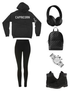 Capricorn Black Everything by birthdaygirlworld on Polyvore featuring Beats by Dr. Dre, Topshop, Timberland, Gucci and Versace