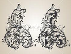 Intertwining Engraved Scrolls Royalty Free Stock Vector Art Illustration