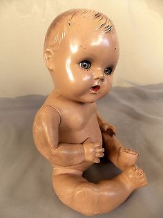 Sun-Rubber-Baby-Doll-Vintage-1930s-patent-As-Is-Sleep-Eyes