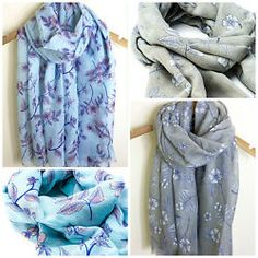 LOVELY LADIES DELICATE FLORAL FLOWER PRINT OVERSIZED SOFT SCARF SS16