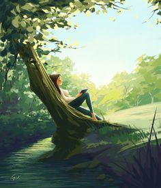 When the leaves turn green - Art Print - Illustration Art - Wall Decor - Reading - Nature - Spring - Cozy - Peijin Art And Illustration, Illustrations, Alone Art, Art Mignon, Posca Art, Digital Art Girl, Green Art, Anime Scenery, Anime Art Girl