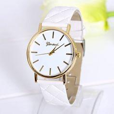 Fashion lady dress white PU leather band watch