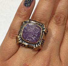 Signed Vintage Pentti P. Sarpaneva Modernist Bronze Raw Square Amethyst Ring