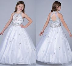 Wholesale Hot Sales Children Kids Pageant Dresses Halte Beaded Crystals A Line Tulle White Sweep Train Sexy Backless Princess Flower Girl Gowns
