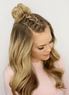 A curly prom hairstyle like this could add some edge to the simple off-the-shoulder/sleeveless dress you might be wearing to prom. In her video tutorial Missy Sue shows us how to successfully Dutch-braid, starting at the front of the head, and she gives tips on how to get bombshell waves using a wand.